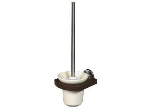 Bisk MADAGASKAR WC kefe szett kerámia tartóval nikkel/fa