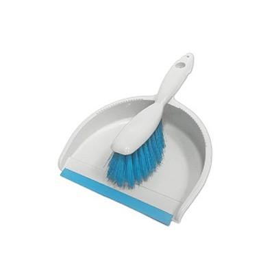 Bisk műanyag szemetes lapát kefével (fehér-kék)