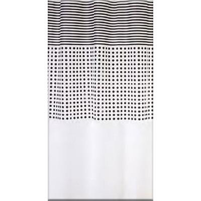 Bisk Malta black/white műanyag PEVA zuhanyfüggöny