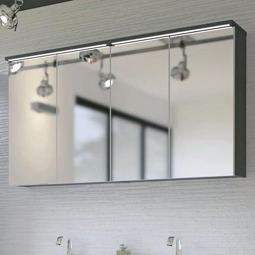 Galaxy szürke színű 120 cm tükrös szekrény - Mediterrán Fürdőszoba