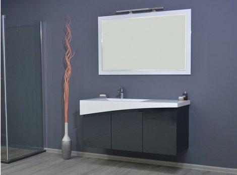 TMP SMYRNA 120 fali fürdőszobabútor antracit szürke AKRIVIT mosdóval TÜKÖR NÉLKÜL