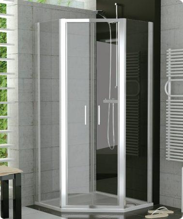 SanSwiss TOP-LINE ötszögletű zuhanykabin - kétrészes lengőajtó