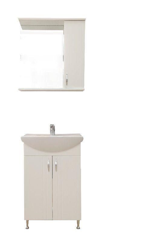 Tat BELLA 60 cm fehér fürdőszoba szekrény mosdóval és tükrös szekrény beépített spot lámpával ...