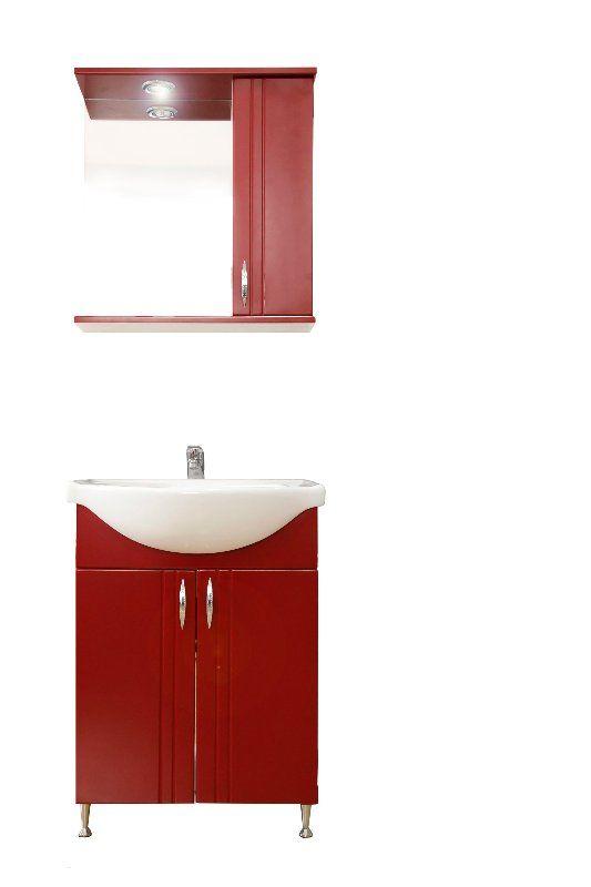 Tat BELLA 70 cm meggy színű fürdőszoba szekrény mosdóval és tükrös szekrény beépített spot ...