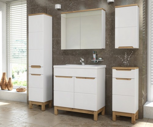 Bali fehér-tölgy színű 80 cm fürdőszoba bútor összeállítás ...