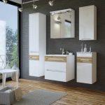 Galaxy fehér-tölgy színű 60 cm fürdőszoba bútor összeállítás