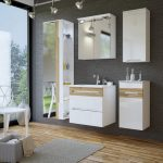 Galaxy fehér-tölgy színű 60 cm fürdőszoba bútor összeállítás (tükrös)