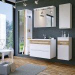 Galaxy fehér-tölgy színű 80 cm fürdőszoba bútor összeállítás (tükrös)