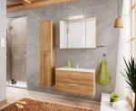 Remik Riviera Oak tölgy színű 80 cm bútor összeállítás mosdóval (tükörrel)
