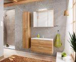 Remik Riviera Oak tölgy színű 80 cm bútor összeállítás mosdóval (tükrös szekrénnyel)