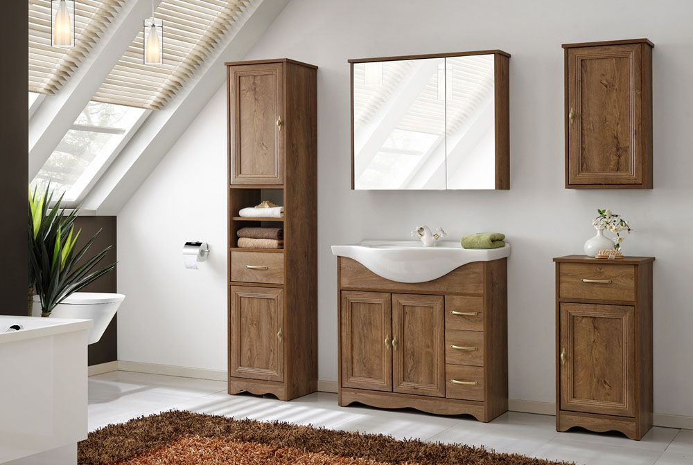 Deco barna színű 85 cm fürdőszoba bútor összeállítás - Mediterrán ...