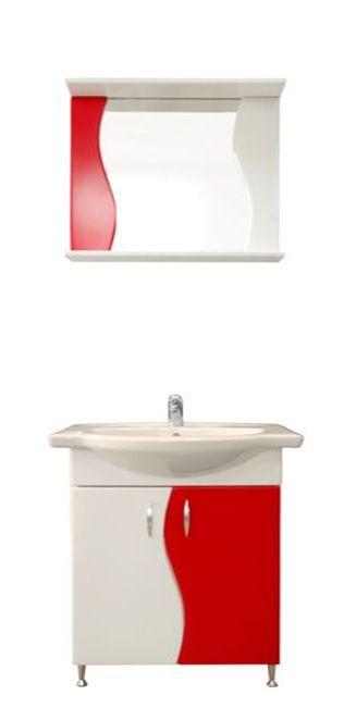 """Tat """"S"""" 60 cm-es piros fehér fürdőszoba szekrény mosdóval és tükrös szekrény beépített spot ..."""